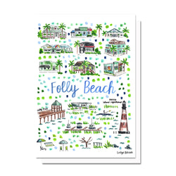 Folly Beach, SC Map Card