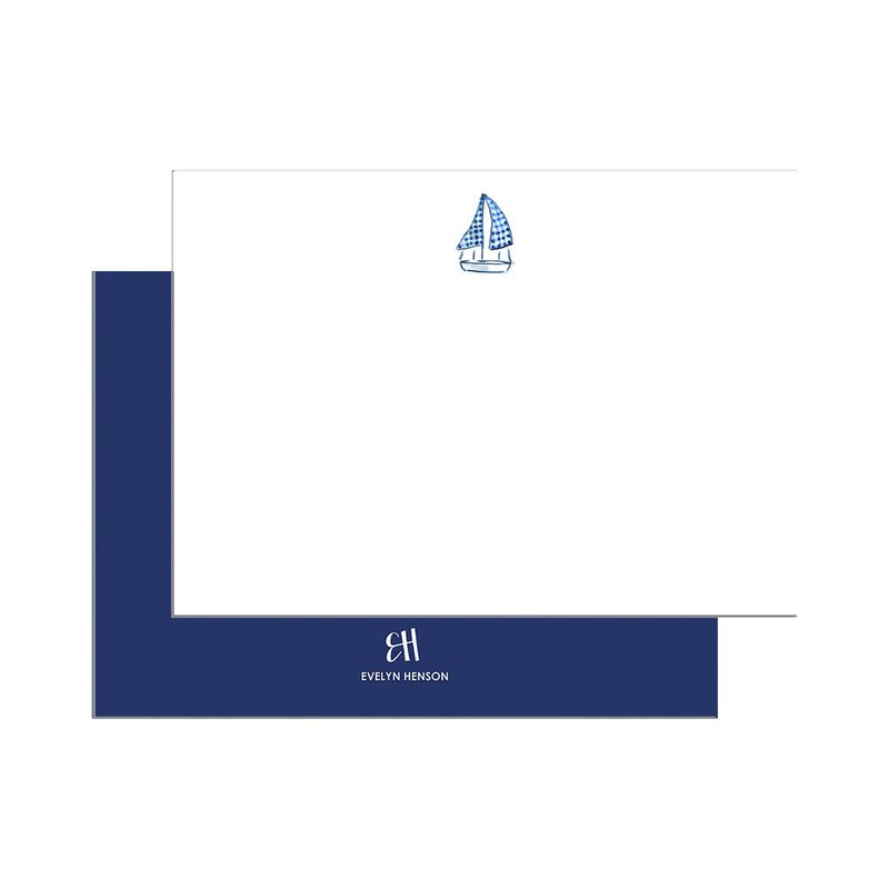 Gingham Boat Notecard Set