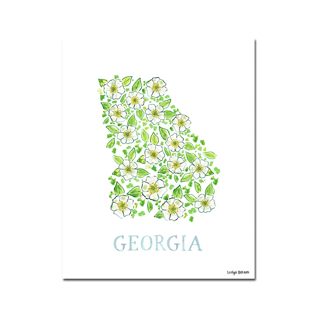 Georgia Cherokee Rose Flower Print