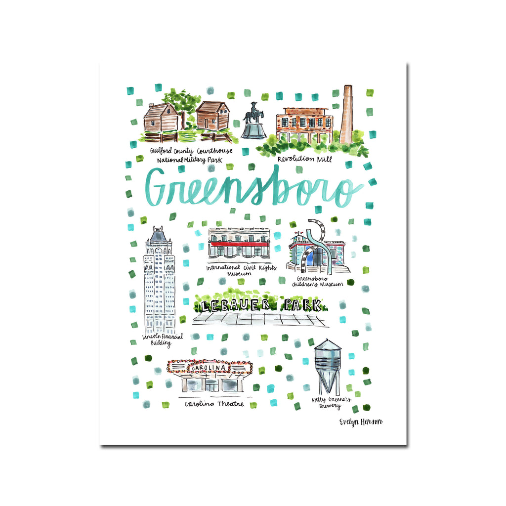 """Greensboro, NC"" Fine Art Print"