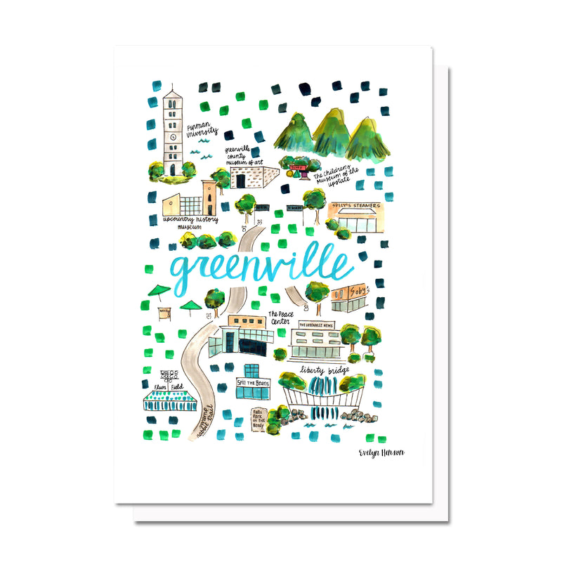 Greenville, SC Map Card