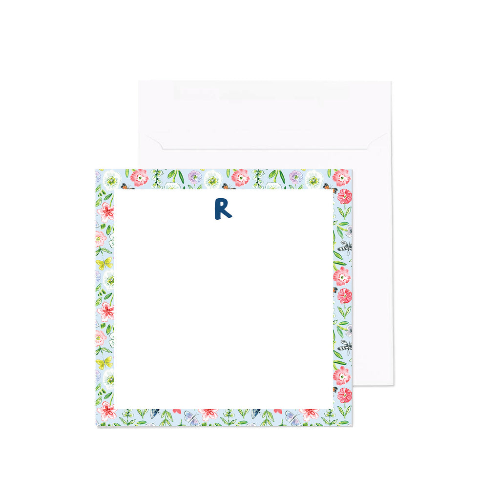 Monogram Notecard, Budding Genius Print