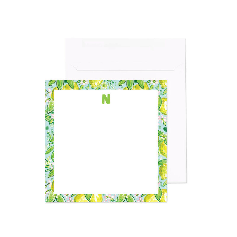 Monogram Notecard, Lemonade Print
