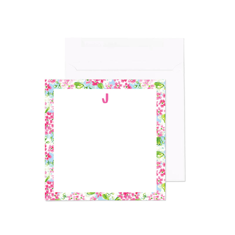 Monogram Notecard, Mayflowers Print