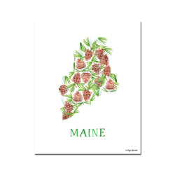 Maine White Pine Tassel and Cone Flower Print
