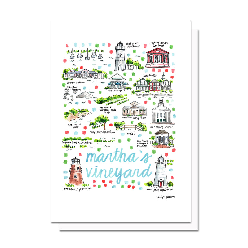 Martha's Vineyard, MA Map Card