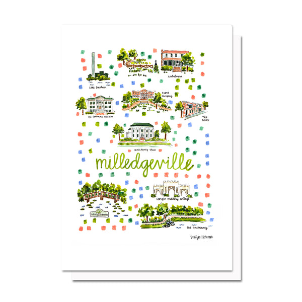 Milledgeville, GA Map Card