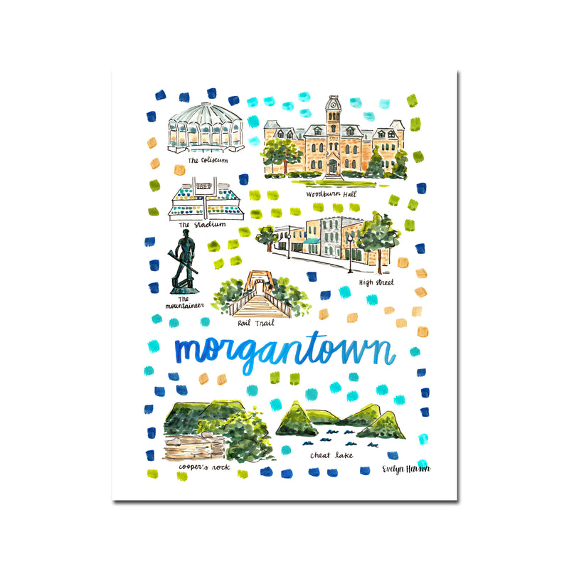 """Morgantown, WV"" Fine Art Print"