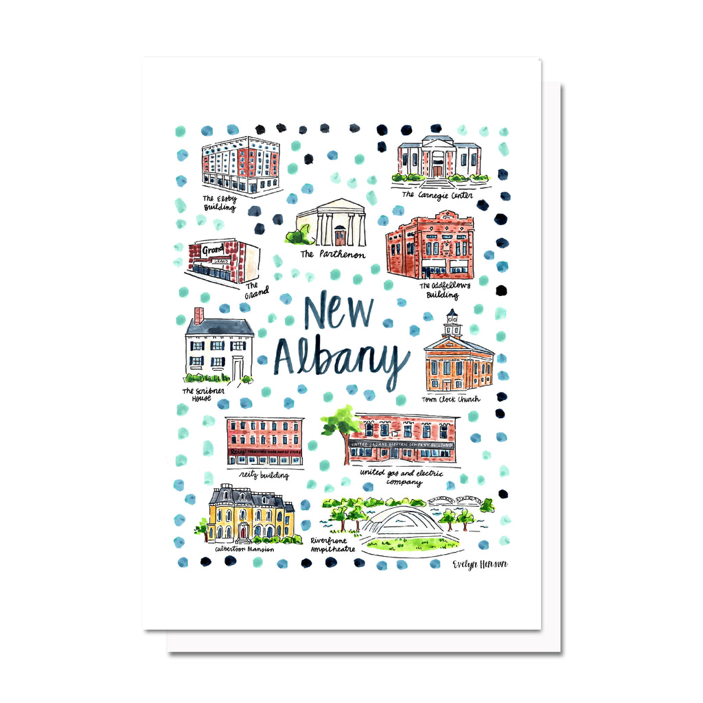 New Albany, IN Map Card