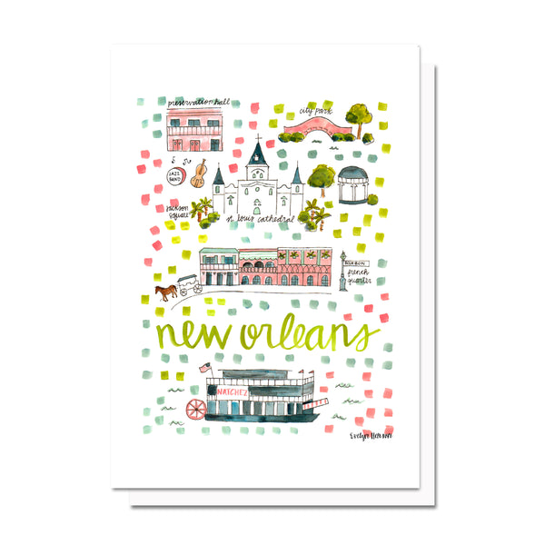 New Orleans, LA Map Card