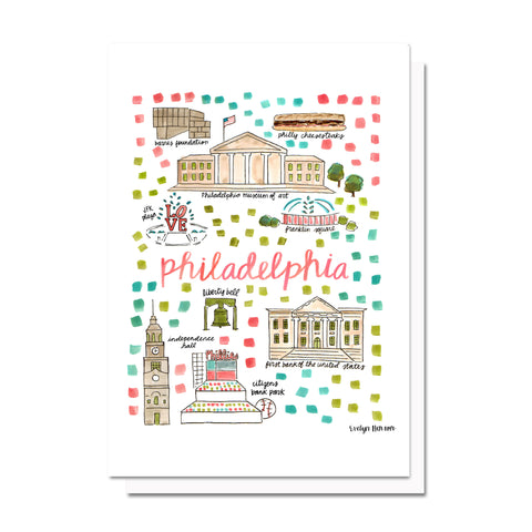 Philadelphia, PA Map Card