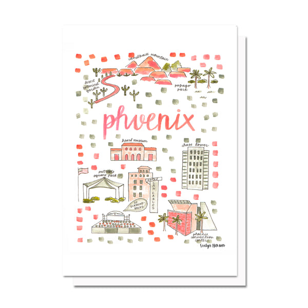 Phoenix, AZ Map Card