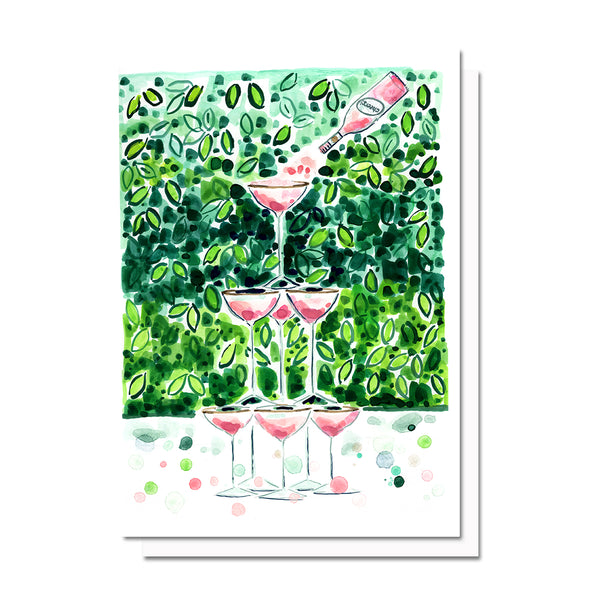 Pink Champagne Tower Card