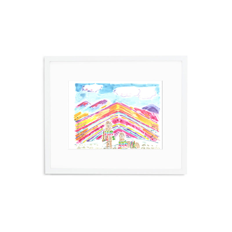 "The ""Rainbow Mountain Alpacas"" Fine Art Print"