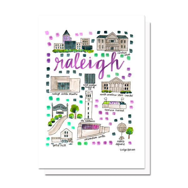 Raleigh, NC Map Card