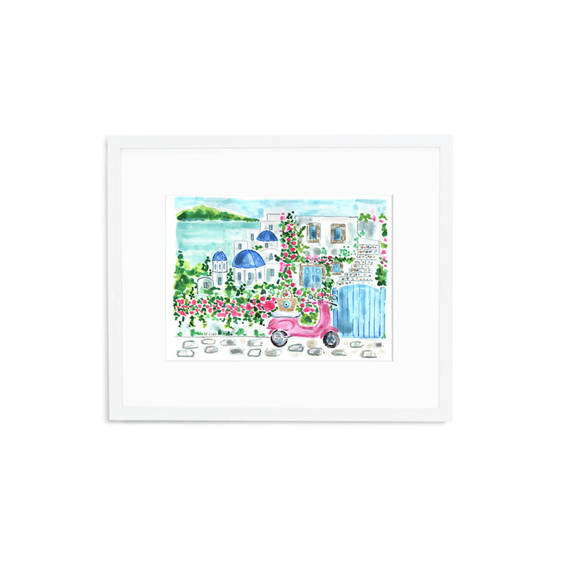 "The ""Santorini Vespa"" Fine Art Print"