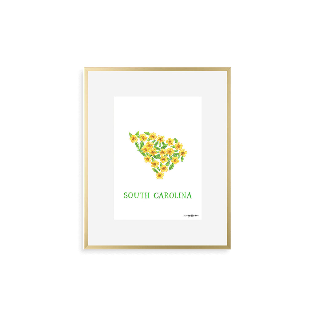 South Carolina Yellow Jessamine Flower Print