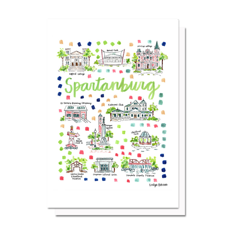 Spartanburg, SC Map Card