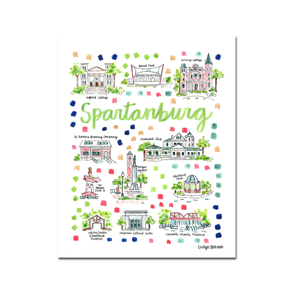 """Spartanburg, SC"" Fine Art Print"