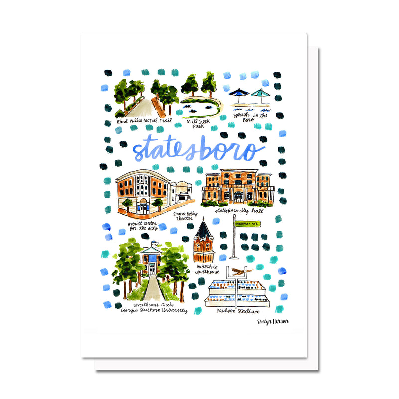 Statesboro, GA Map Card