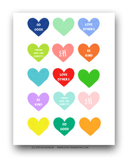 Confetti Hearts Edition Sticker Sheet