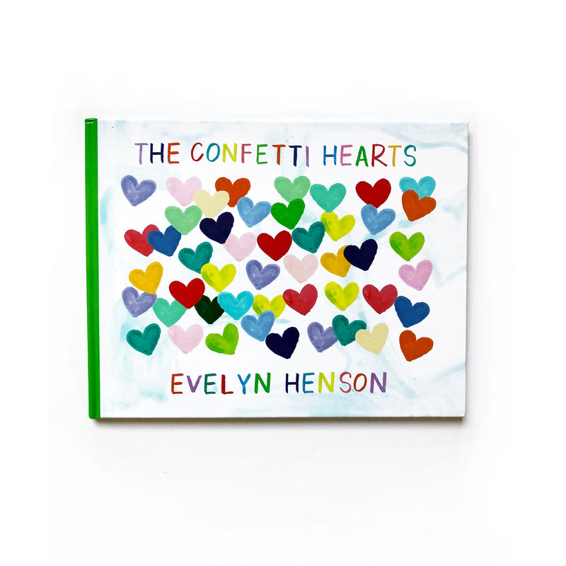 The Confetti Hearts Book, SIGNED edition with an original 5x5 canvas heart painting