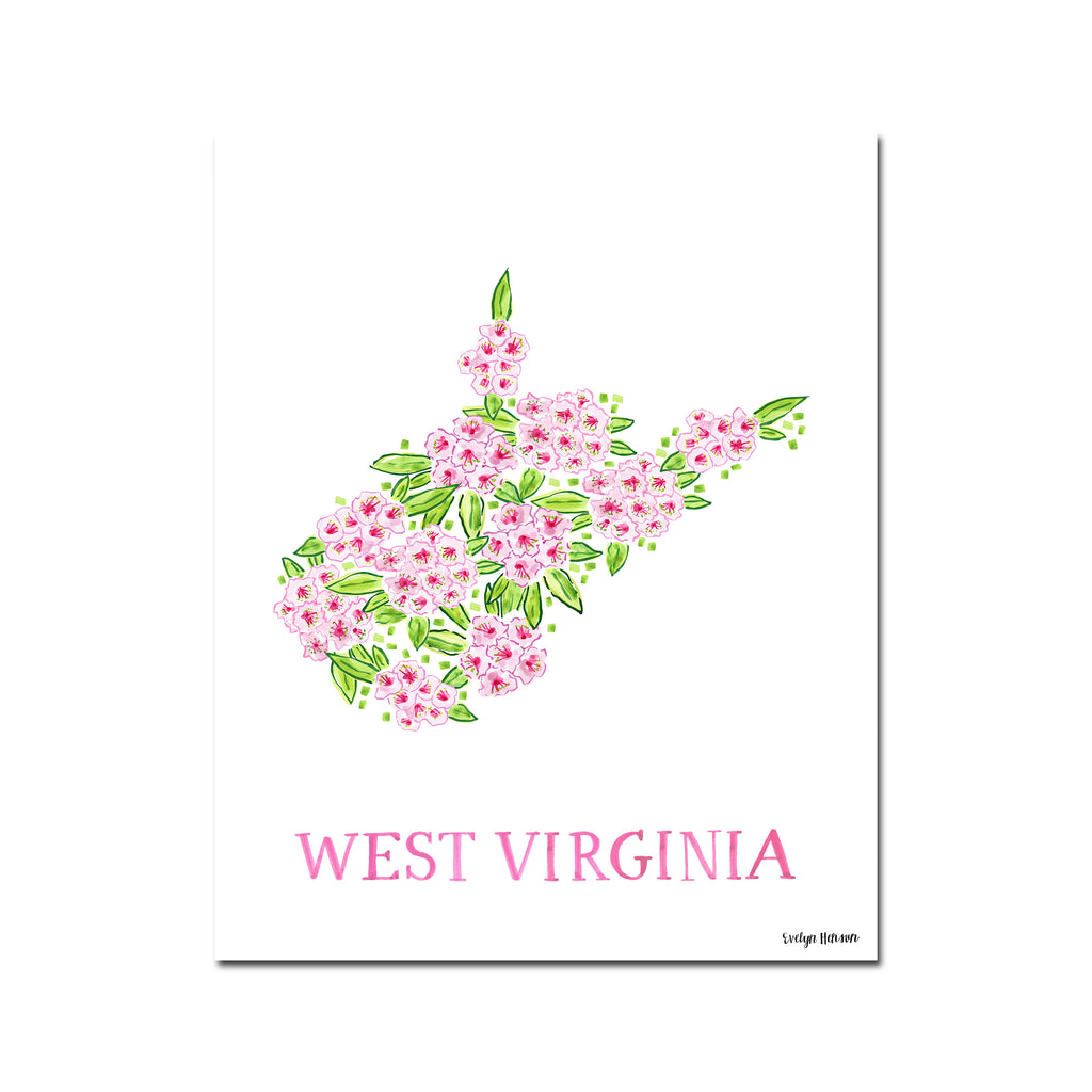 West Virginia Rhododendron Flower Print