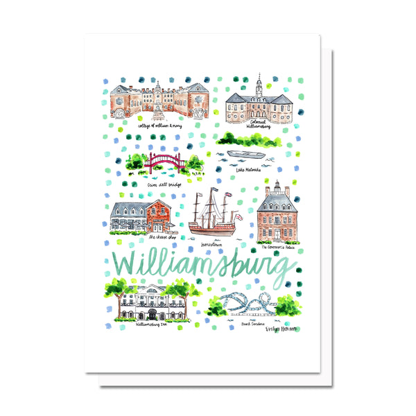 Williamsburg, VA Map Card