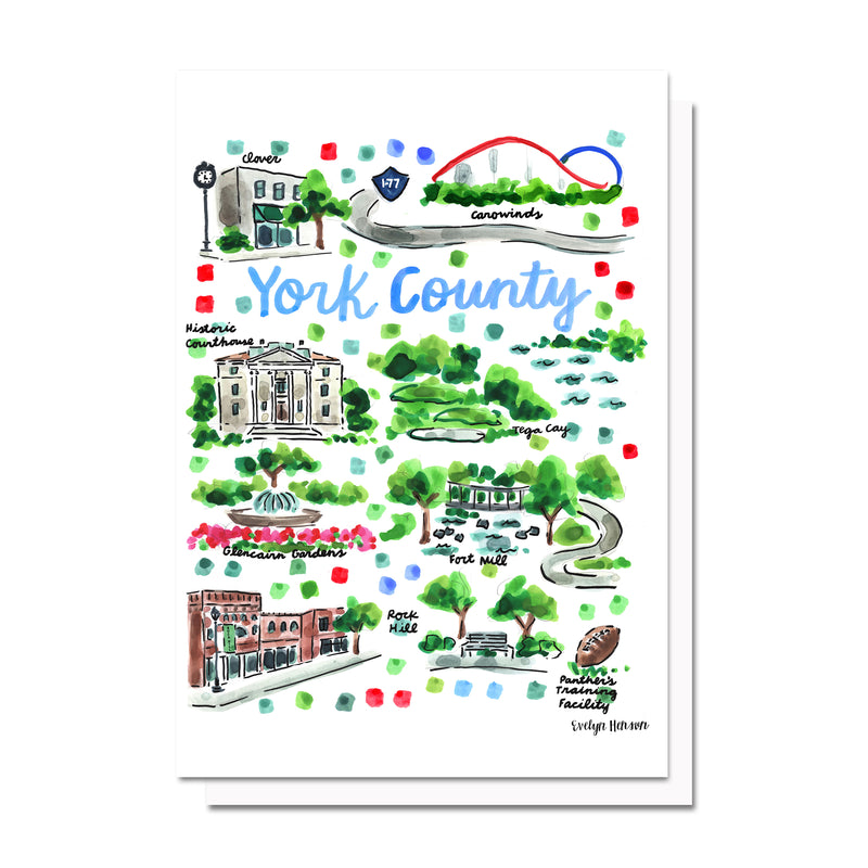 York County, SC Map Card