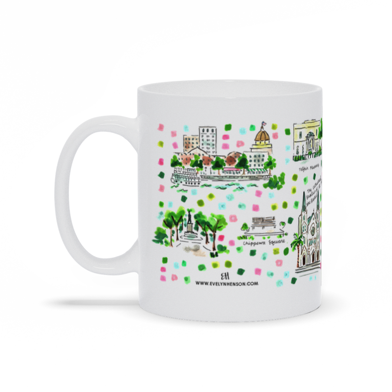 Savannah, GA Map Mug