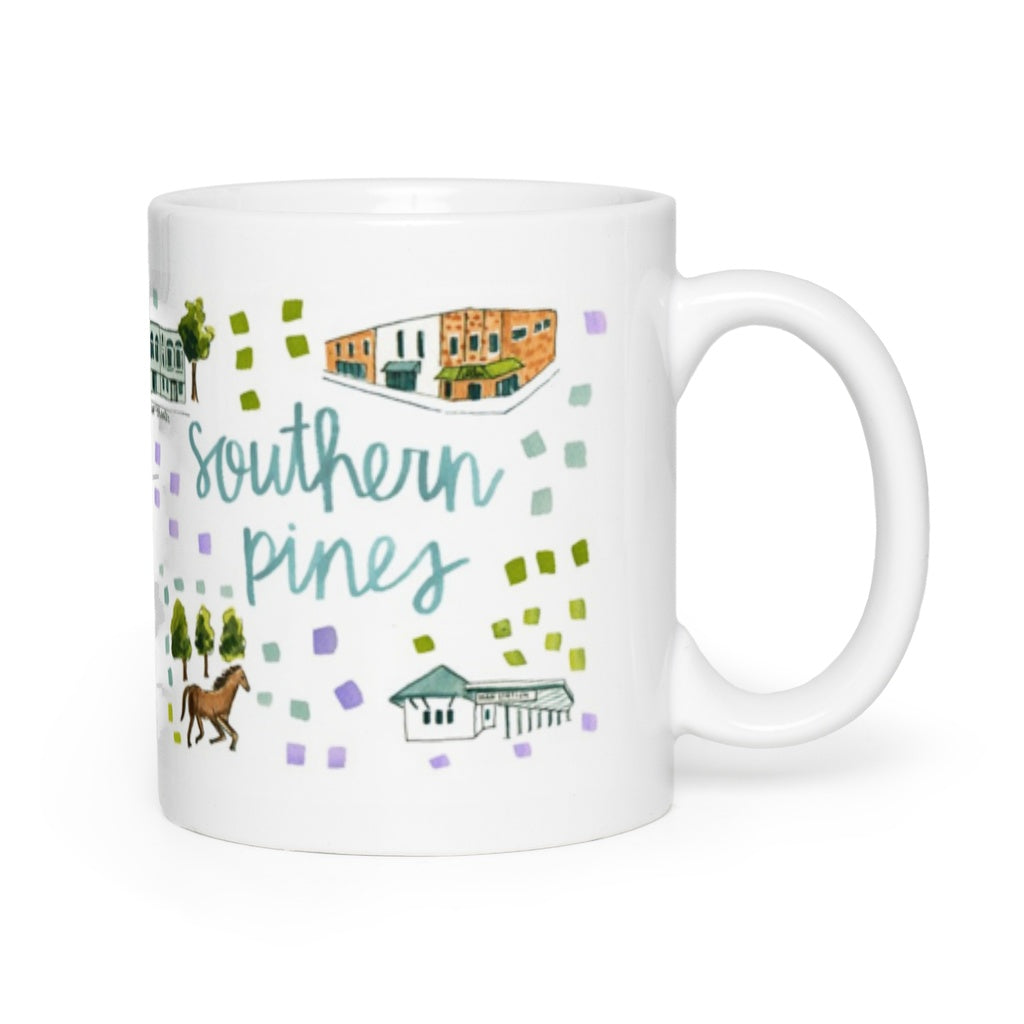 Southern Pines Nc Map Mug Evelyn Henson
