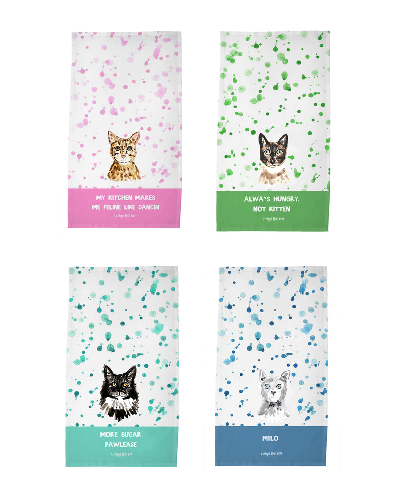 Personalized Cat Tea Towel