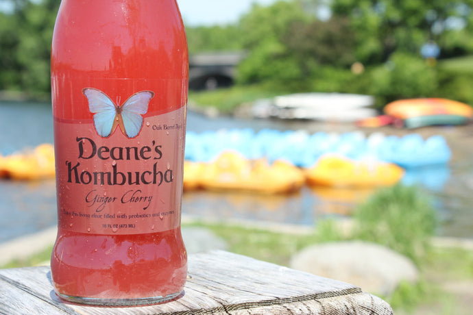 Deane's Kombucha Ginger Cherry 16 oz bottle