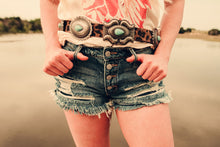 Load image into Gallery viewer, Buckle Bunny Distressed Cut-offs