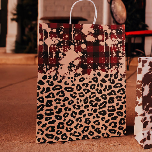 Large Leopard & Plaid Gift Bags