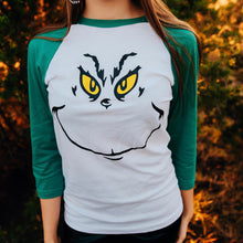 Load image into Gallery viewer, Grinch Raglan Tee