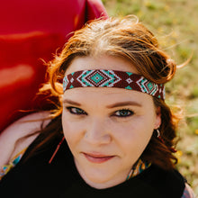 Load image into Gallery viewer, Hippie Headband *burgundy aztec*