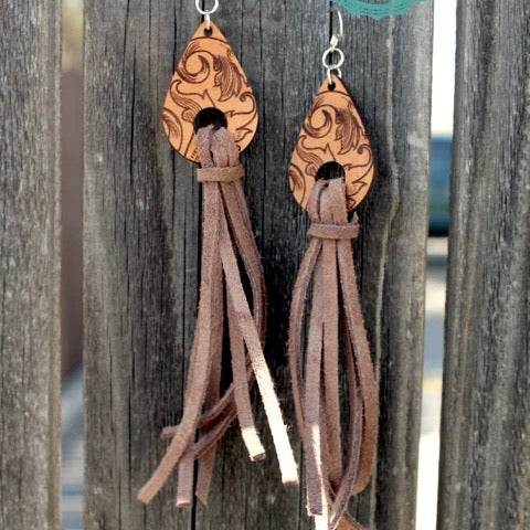 Weathered Leather Earrings *brown*