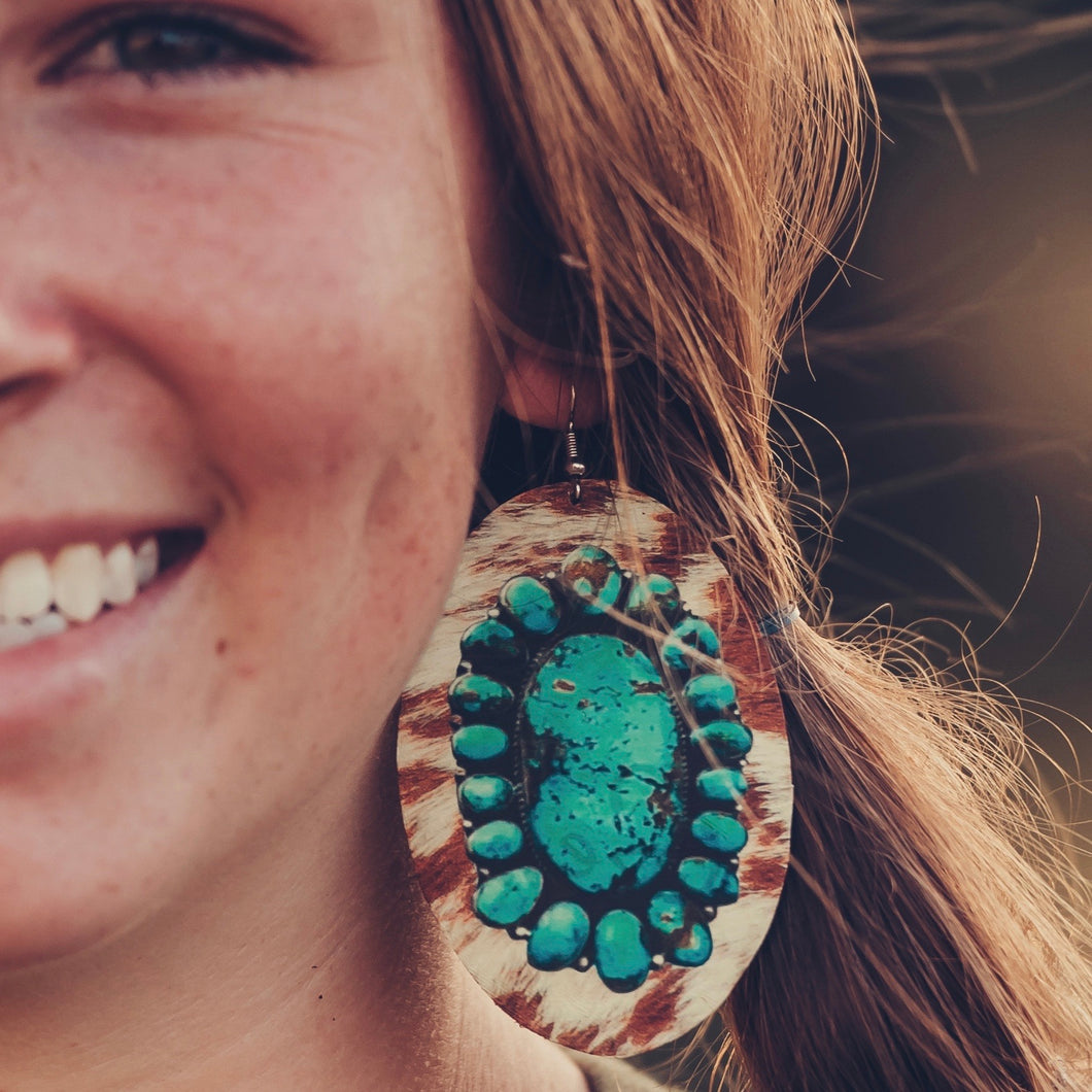 Cowhide & Turquoise Stone Earrings