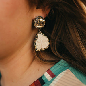 Buffalo Nickel Earrings *white*