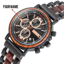 Cargar imagen en el visor de la galería, BOBO BIRD Personalized Wooden Watch Men Relogio Masculino Top Brand Luxury Chronograph Military Watches Anniversary Gift for Him