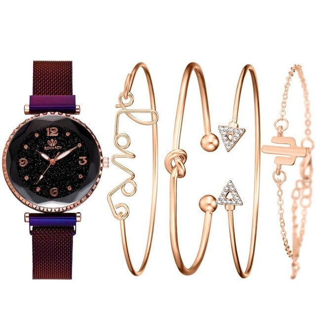 5pc/set Luxury Brand Women Watches Starry Sky Magnet Watch Buckle Fashion Bracelet Wristwatch Roman Numeral Simple Clock Gift
