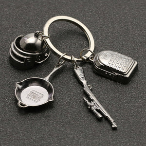 PUBG Keychain Playerunknowns Battlegrounds Backpack Armor Helmet Pan 98k Flare Gun Keyring Key Chain Ring Army Jewelry Wholesale