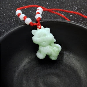 Natural White Jade Chinese Zodiac Pendant Necklace Fashion Charm Jewellery Accessories Hand-Carved Lucky Amulet Gifts for Women