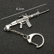 Cargar imagen en el visor de la galería, PUBG Keychain Playerunknowns Battlegrounds Backpack Armor Helmet Pan 98k Flare Gun Keyring Key Chain Ring Army Jewelry Wholesale