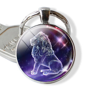 12 Constellations Keychain Constellation Key Rings Zodiac Sign Key Chain Pendant Jewelry Libra Aries Leo Fashion Birthday Gift