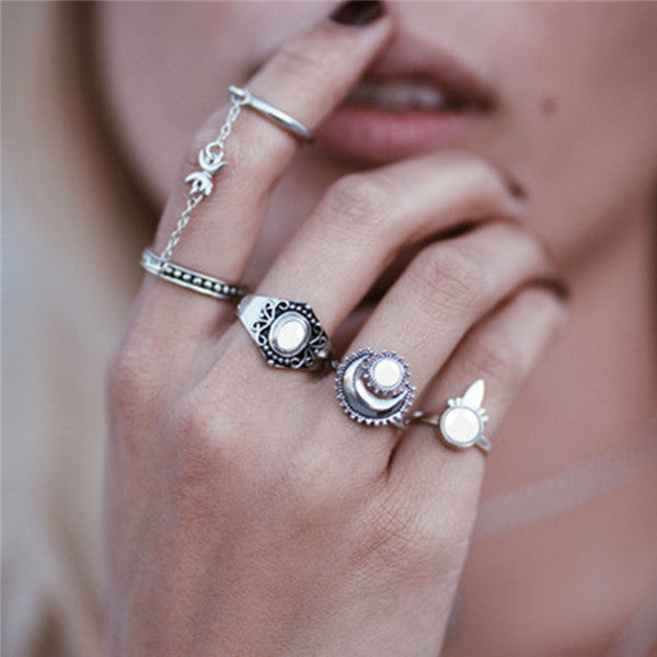15 Pcs/set Women Fashion Rings Hearts Fatima Hands Virgin Mary Cross Leaf Hollow Geometric Crystal Ring Set Wedding Jewelry