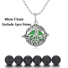 Cargar imagen en el visor de la galería, Aromatherapy Jewelry Tree of Life Essential Oil Diffuser Necklace Lava Stone Angel Ball Caller Locket for Pregnant Women Jewelry