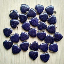 Cargar imagen en el visor de la galería, Wholesale 50pcs/lot 2018 Assorted heart natural stone charms pendants for jewelry making Good Quality 20mm free shipping