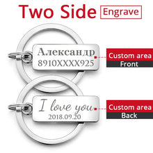 Cargar imagen en el visor de la galería, Custom Engraved Keychain For Car Logo Name Stainless Steel Personalized Gift Customized Anti-lost Keyring Key Chain Ring P009